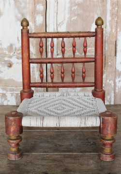 Antique Tribal Low Pida Chair with faded red paint <b>sold<b>
